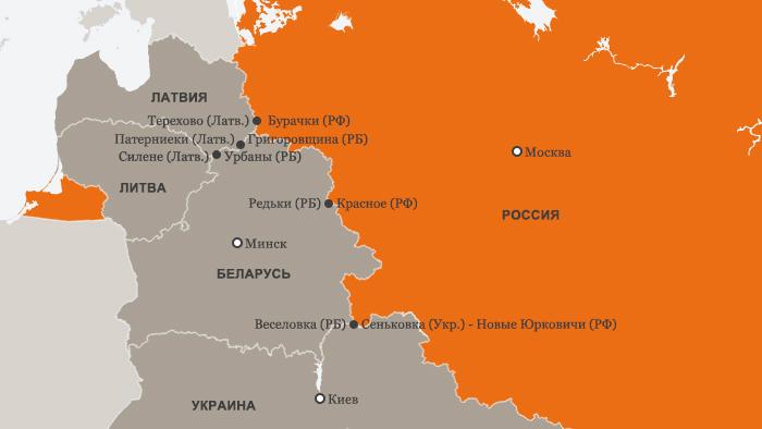 Инфографика границ России, Беларуси, Литвы, Латвии и Украины